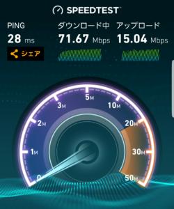 UQモバイル スピードテスト