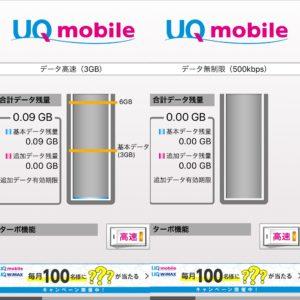 UQモバイルポータルアプリ データ残量表示