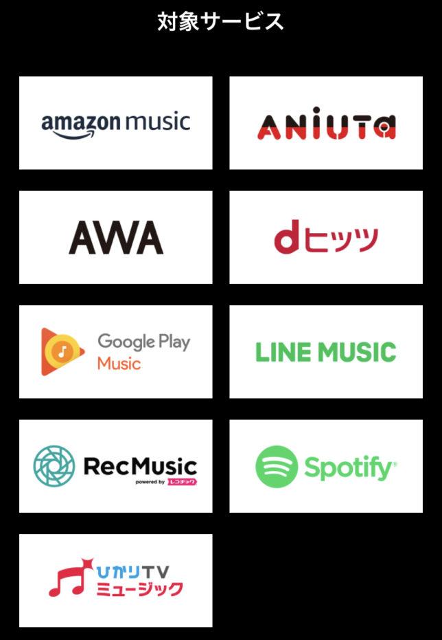 MUSICカウントフリー 対象サービス