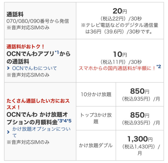 OCNモバイルONE 通話定額