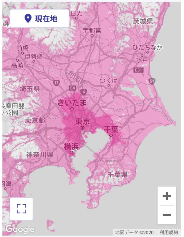 楽天モバイルUN-LIMIT サービスエリアマップ