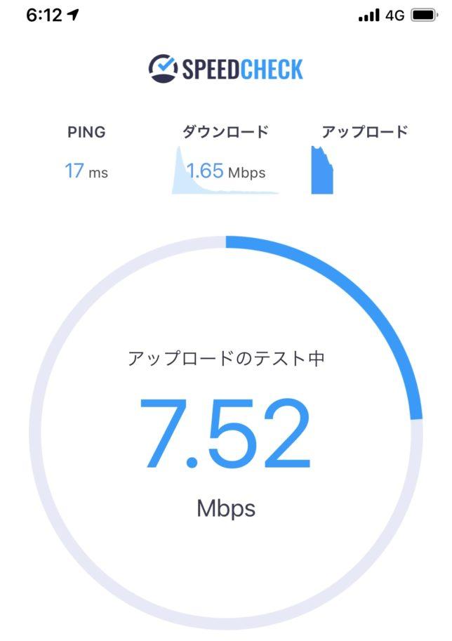 UQモバイル アップロード速度