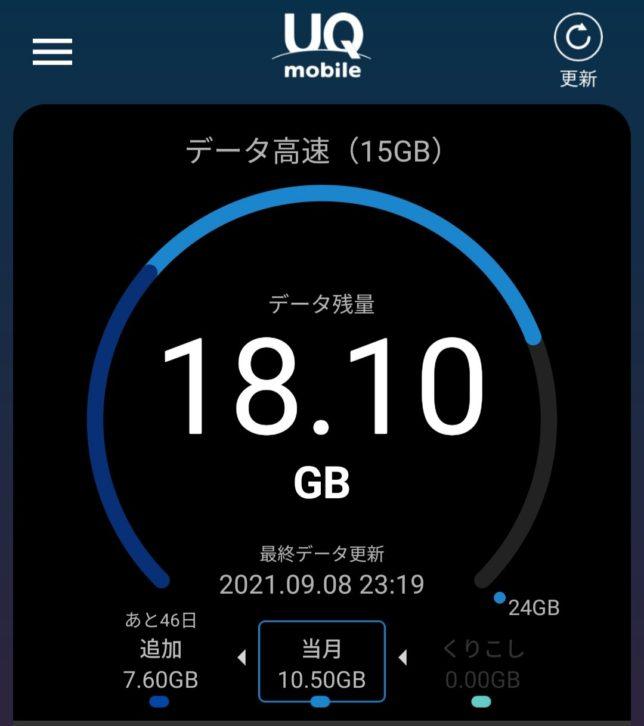 UQモバイル 4Gデータ残量